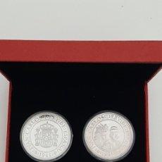 Monedas Juan Carlos I: LOTE DE 2 MONEDAS 5000 PESETAS EN ESTUCHE ROJO MUY BONITO. Lote 181620131