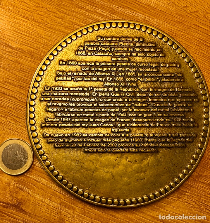 Monedas Juan Carlos I: Moneda bronce gran tamaño conmemorativa de la peseta - Foto 2 - 182302280