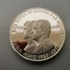 Monedas Juan Carlos I: MONEDA/MEDALLA PLATA PROOF 900 N$ 2000 1983 65GR VISITA REYES ESPAÑA URUGUAY. Lote 182878345