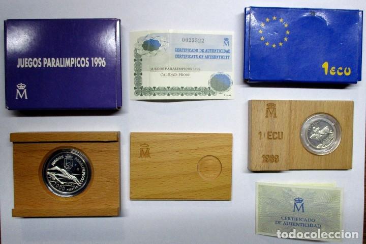 1000 PESETAS 1996, JUEGOS PARALIMPICOS Y 1 ECU DE 1989. PLATA 925/000. LOTE 2117 (Numismática - España Modernas y Contemporáneas - Juan Carlos I)
