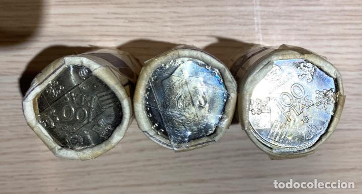 Monedas Juan Carlos I: FNMT 3 Cartuchos Oficiales Precintados de 25 monedas 100 pesetas. Emisión 1975. *80. 75 monedas SC. - Foto 3 - 184218730