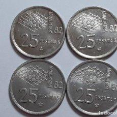 Monedas Juan Carlos I: LOTE 4 MONEDAS 25 PESETAS 1980 . Lote 184283282