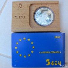 Monedas Juan Carlos I: ESPAÑA 1995 - ESUCHE CON LA MONEDA DE 5 ECU DE 1995 - DEDICADO A LA MARINA ESPAÑOLA. Lote 186335993