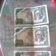 Monedas Juan Carlos I: 3 BILLETES DE 1000 PESETAS AÑO 1971. Lote 187592008