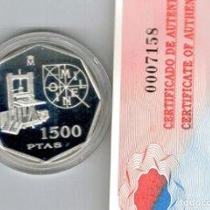 Monedas Juan Carlos I: MONEDA DE ESPAÑA DE 1.500 PESETAS DE PLATA PROOF. MILENIO (IMPRENTA) 2000, CON CAJA. Lote 188671903