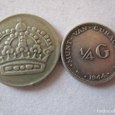 Monedas Juan Carlos I: CURACAO Y SUECIA . LOTE DE 2 MONEDAS DE PLATA. Lote 194746447