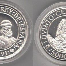 Monedas Juan Carlos I: ESPAÑA 5000 PESETAS PLATA 1991 PROOF PIZARRO Y ATAHUALPA - V CENTENARIO. Lote 194935088