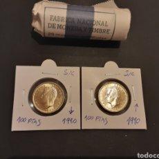 Monedas Juan Carlos I: 2 MONEDAS 100 PESETAS 1990. S/C. JUAN CARLOS I.LIS ARRIBA Y LIS ABAJO SACADAS DE CARTUCHO.. Lote 247705455