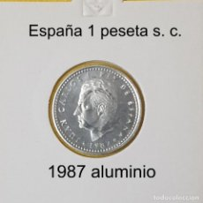 Monedas Juan Carlos I: LOTE 3 MONEDAS ESPAÑA 1 PESETA 1987 S. C. JUAN CARLOS I ALUMINIO WCC:KM821 DE FNMT-RCM. Lote 198500278