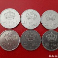 Monedas Juan Carlos I: LOTE 6 MONEDAS 25 PESETAS EBC. Lote 200018766