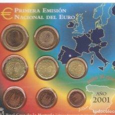 Monedas Juan Carlos I: EUROS PRIMERA EMISIÓN 2001 CARTERITA DE LA REAL CASA DE LA MONEDA. Lote 201965082