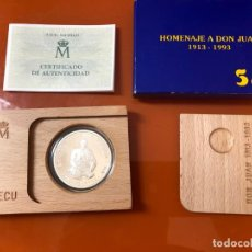 Monedas Juan Carlos I: MONEDA 5 ECUS , 1993 PLATA , HOMENAJE A DON JUAN 1913 1993 , CON CAJA ORIGINAL ,. Lote 203045332