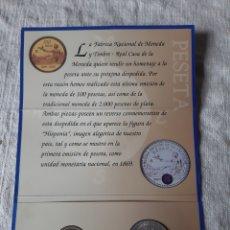 Monedas Juan Carlos I: ESPAÑA 2001 MONEDAS 2000 Y 100 PESETAS ABAJO CARTERA OFICIAL REAL CASA MONEDA FNMT ULTIMA PESETA. Lote 203964870