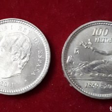 Monedas Juan Carlos I: CIEN PESETAS. PAREJA DE FLOR ANVERO Y REVERSO. SC - 2001. Lote 205860725