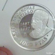 Monedas Juan Carlos I: 1000 PESETAS EN PLATA, 1997. ANTONIO CANOVAS DEL CASTILLO. PLATA 925/000. PROOF.. Lote 207237343