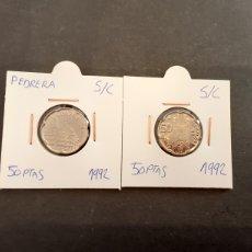 Monedas Juan Carlos I: SERIE 2 MONEDAS 50 PESETAS 1992 JUAN CARLOS I S/C LA SAGRADA FAMILIA Y PEDRERA ESPAÑA. Lote 255306945