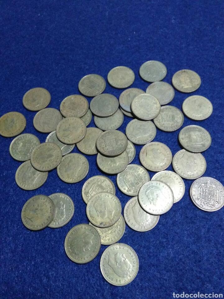 Monedas Juan Carlos I: Lote de 43 monedas de 1 pst juan carlos I sin determinar - Foto 2 - 208286485