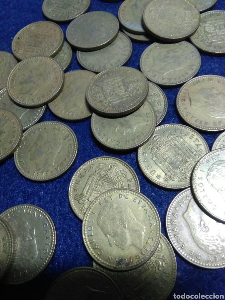 Monedas Juan Carlos I: Lote de 43 monedas de 1 pst juan carlos I sin determinar - Foto 3 - 208286485
