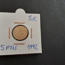 Monedas Juan Carlos I: MONEDA 5 PESETAS 1992 JUAN CARLOS I S/C SACADA DE LA BOLSA ESPAÑA. Lote 241983660
