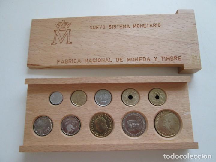 NUEVO SISTEMA MONETARIO FNMT * ESTUCHE DE MADERA * SERIE COMPLETA 1990 * (Numismática - España Modernas y Contemporáneas - Juan Carlos I)