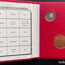 Monedas Juan Carlos I: 1 Y 200 PESETAS E-87 +MEDALLA EN CARTERA ROJA OFICIAL. Lote 221484128