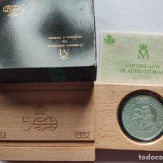 Monedas Juan Carlos I: ESPAÑA 5000 PESETAS PLATA 1992 FDC MAQUINA TONELIER - V CENTENARIO IV SERIE. Lote 221944523