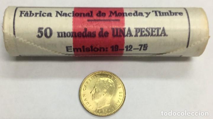 UN CARTUCHO F.N.M.T. DE UNA (1) PESETA (50 MONEDAS) JUAN CARLOS I - AÑO 1975 *77 - KM.806 S/C. (Numismática - España Modernas y Contemporáneas - Juan Carlos I)