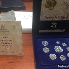 Monnaies Juan Carlos I: ULTIMAS PESETAS EN PLATA CAJA 2001 CON 9 MONEDAS Y LIBRO HISTORIA DE LA PESETA. Lote 263266115