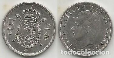 ESPAÑA 1975 *79 - 5 PESETAS - KM 807 - CIRCULADA (Numismática - España Modernas y Contemporáneas - Juan Carlos I)