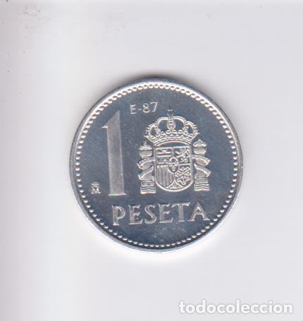 Monedas Juan Carlos I: MONEDAS - JUAN CARLOS I - 1 PESETA 1987 - (E-87) PG-404 (PROOF) - Foto 2 - 226110930