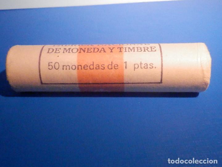 CARTUCHO FMNT - FABRICA NACIONAL DE MONEDA Y TIMBRE - 50 MONEDAS 1 PESETA 1987 - S/C (Numismática - España Modernas y Contemporáneas - Juan Carlos I)