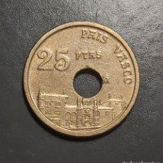 Monedas Juan Carlos I: ERROR MUY RARO: 25 PESETAS 1993 CON AGUJERO MUY DESCENTRADO. Lote 227571395
