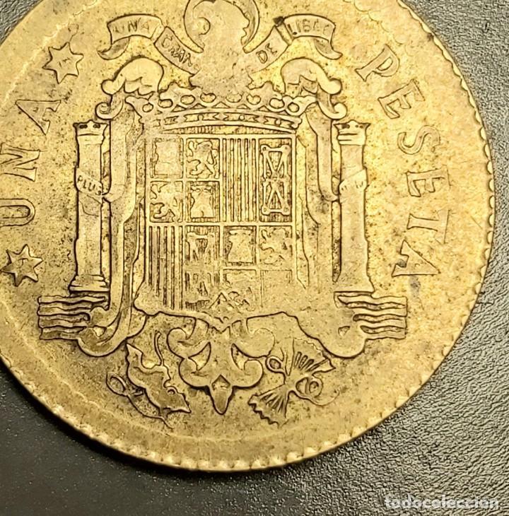 Monedas Juan Carlos I: ERROR ÚNICO: 1 PESETA 1975 MUY MAL ACUÑADA Y CON EL CANTO LISO Y ESTRIADO. VER IMÁGENES - Foto 2 - 228825405
