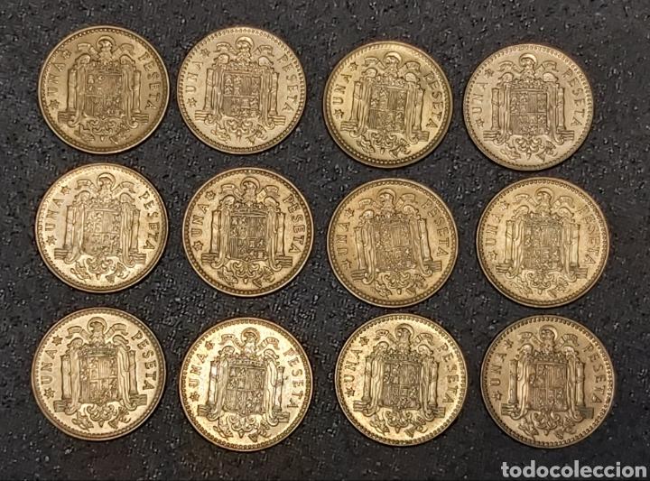 Monedas Juan Carlos I: LOTE 12 MONEDAS DE 1 PESETA 1975 VARIANTE CHILENA - Foto 3 - 230442750