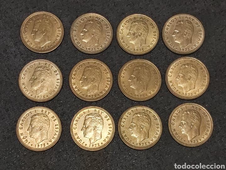 LOTE 12 MONEDAS DE 1 PESETA 1975 VARIANTE CHILENA (Numismática - España Modernas y Contemporáneas - Juan Carlos I)