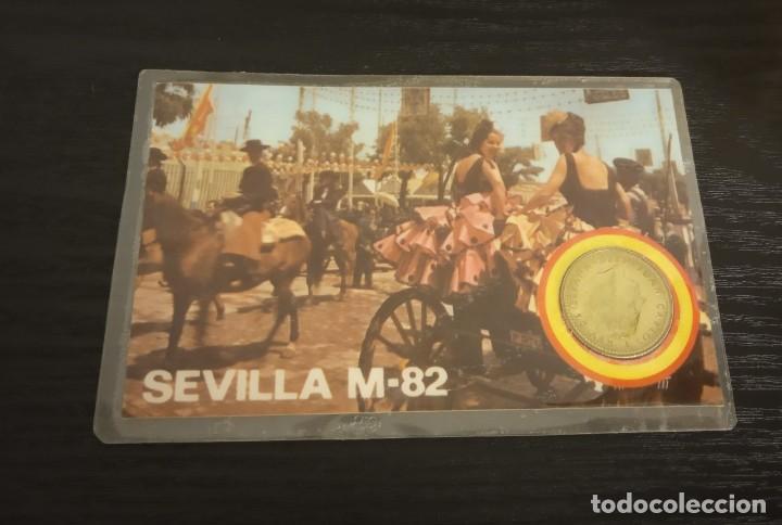 Monedas Juan Carlos I: -MONEDA PLASTIFICADA CONMEMORATIVA MUNDIAL ESPAÑA 82 - BETIS SEDE SEVILLA , numismatica - Foto 2 - 232241250