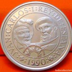 Monnaies Juan Carlos I: ESPAÑA, 1000 PESETAS, 1990. 2ª SERIE DEL V CENT. DESC. DE AMÉRICA.PLATA LEY 925. PESO:13.5 GR.. Lote 236093680