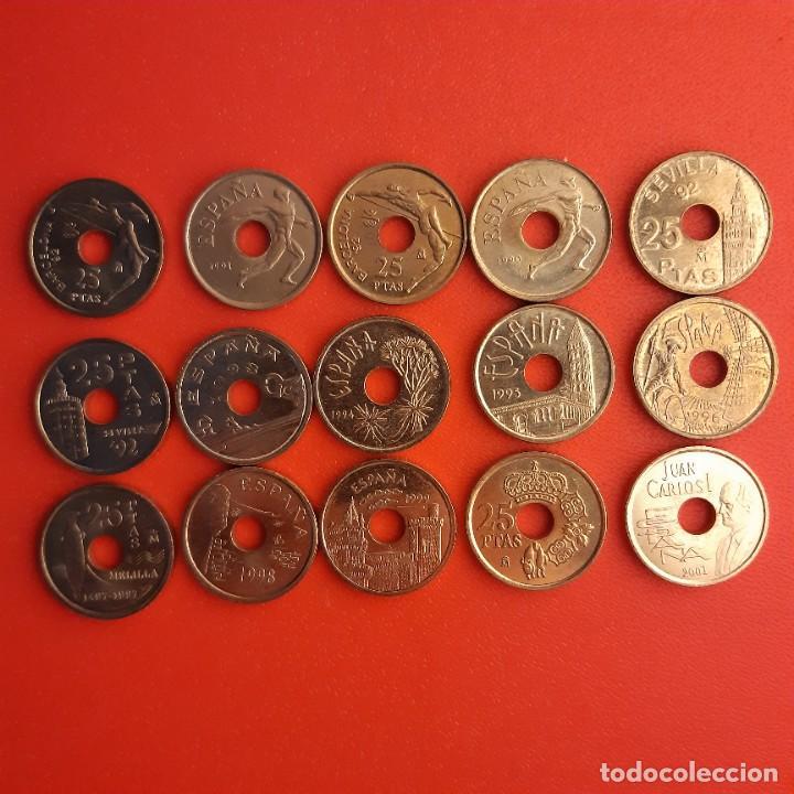 JUAN CARLOS I, LOTE DE 15 PIEZAS DE 25 PESETAS 1990-2001 (Numismática - España Modernas y Contemporáneas - Juan Carlos I)