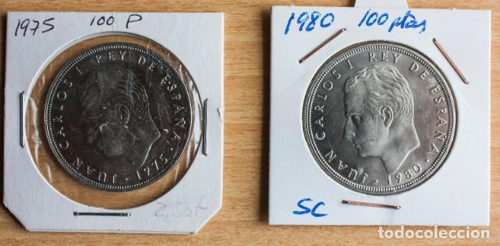 LOTE 2 MONEDAS DE 100 PTAS DE J.CARLOS, ESTADO S.C., DE 1975 Y 1980 (Numismática - España Modernas y Contemporáneas - Juan Carlos I)