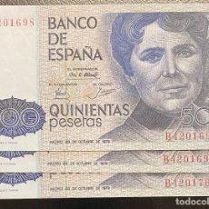 Moedas Juan Carlos I: ESPAÑA, LOTE DE 3 BILLETES DE 500 PESETAS. Lote 241653520