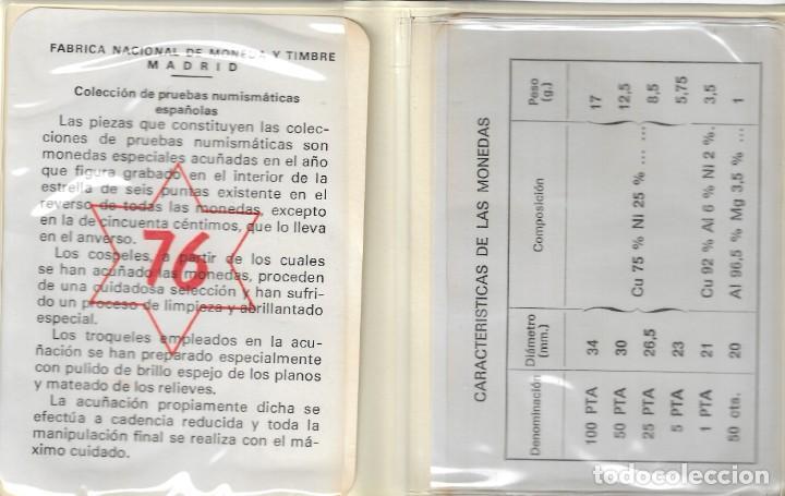 Monedas Juan Carlos I: CARTERA - PRUEBAS NUMISMÁTICAS - FABRICA NACIONAL DE MONEDA Y TIMBRE (Madrid) - 1976. - Foto 6 - 242974690