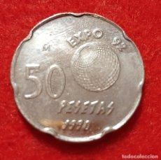 Monedas Juan Carlos I: MONEDA 50 PESETAS 1990 ERROR VARIANTE PANTOGRAFO MBC ORIGINAL C2. Lote 243406690