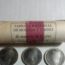 Monedas Juan Carlos I: LOTE DE 5 MONEDAS DE 25 PESETAS 1975*76 SC DE CARTUCHO. Lote 244781235