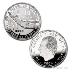 Monedas Juan Carlos I: MONEDA PLATA 10 EUROS - CAMPEONES DE EUROPA 2008 - ESPAÑA - FUTBOL - FNMT. CON ESTUCHE ORIGINAL. Lote 253354845