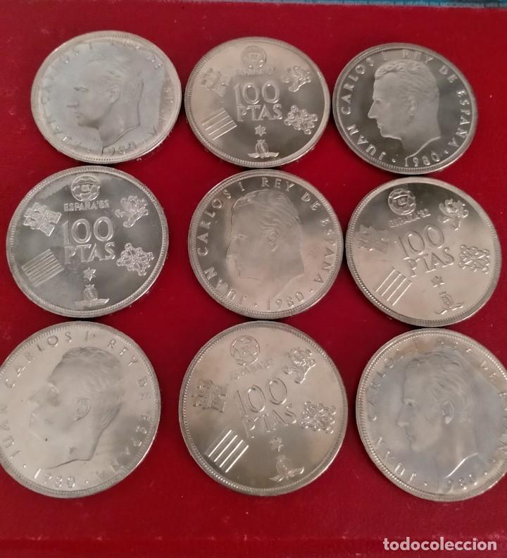 LOTE DE 9 MONEDAS DE 100 PESETAS - JUAN CARLOS I 1980 (*80) SC (Numismática - España Modernas y Contemporáneas - Juan Carlos I)