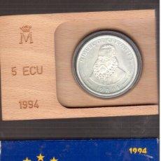 Monedas Juan Carlos I: MONEDAS DE ESPAÑA JUAN CARLOS I 5 ECUS 1994 MADRID CMIGUEL DE CERVANTES. Lote 262109590