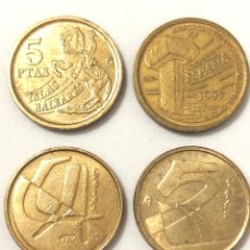 Monedas Juan Carlos I: 4 MONEDAS DE 5 PESETAS. REY JUAN CARLOS. 1989;1990 Y 1997.. Lote 268870179