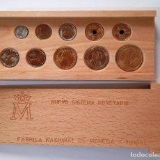 Monedas Juan Carlos I: ESTUCHE MADERA SERIE COMPLETA 1990 NUEVO SISTEMA MONETARIO 10 MONEDAS SIN CIRCULAR. Lote 277621208