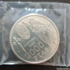 Monedas Juan Carlos I: MONEDA 2000 PESETAS - AÑO 1999 (MADRID) - XACOBEO. Lote 277835223