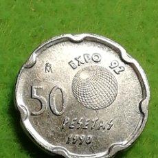 Monedas Juan Carlos I: 50 PESETAS DE 1990. EXPO SEVILLA 92. MUY BIEN CONSERVADA.. Lote 283218843